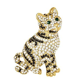 Evige samling Jasper guld Tone østrigske Crystal Cat broche