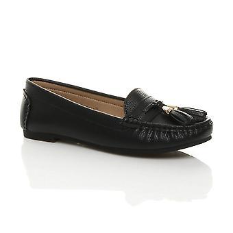 Ajvani Womens flat low heel tassel smart casual work moccasins loafers shoes