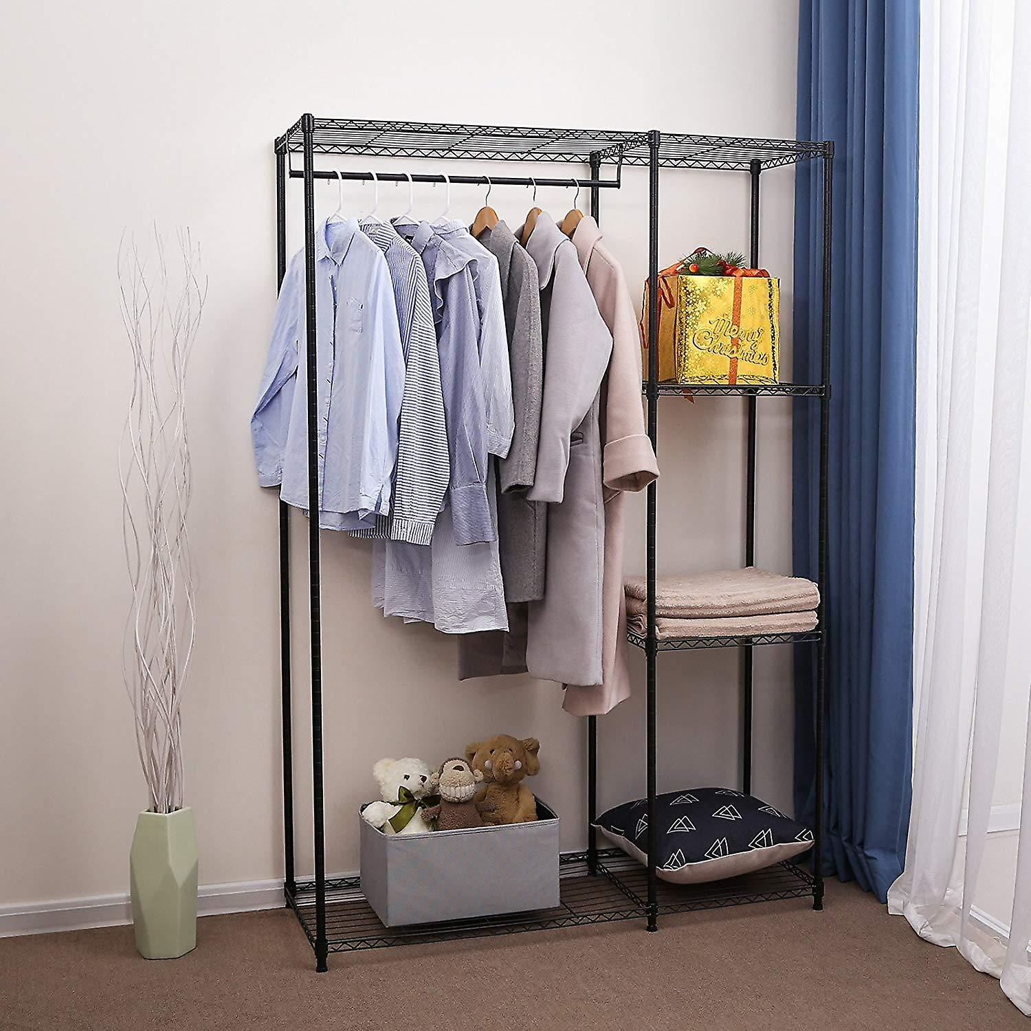 Metal clothes rack with 4 shelves-black