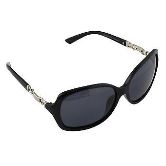 Sonnenbrille UV 400 oval polarisierendes Glas silber schwarz S356_3 FREE BrillenkokerS356_3