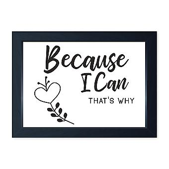 Because I Can, Quality Framed Print - Home Kitchen Dining Dressing Room