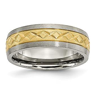 Titanium 7mm Satin and Gold-Flashed Grooved Engravable Yellow IP-plated X Design Band Ring - Ring Size: 6 to 11.5