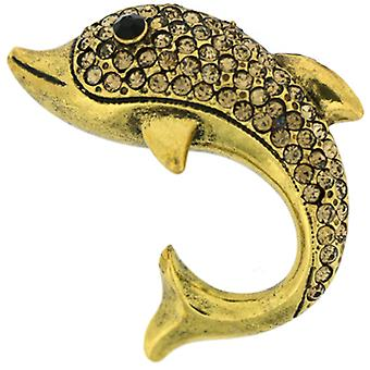 Brooches Store Antique Gold & Topaz Crystal Dolphin Brooch