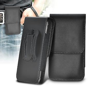 ONX3 (Black) Kyocera DuraForce Pro Case High Quality Faux Leather Vertical Executive Pouch Holster Belt Clip Cover Case