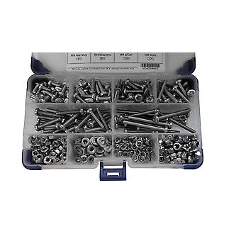 965 Piece M3 Zinc Plated Pan Pozi Machine Screws with Nuts and Washers