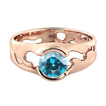 1.00 CT Aquamarine Ring 14K Rose Gold Unique Solitaire Designer