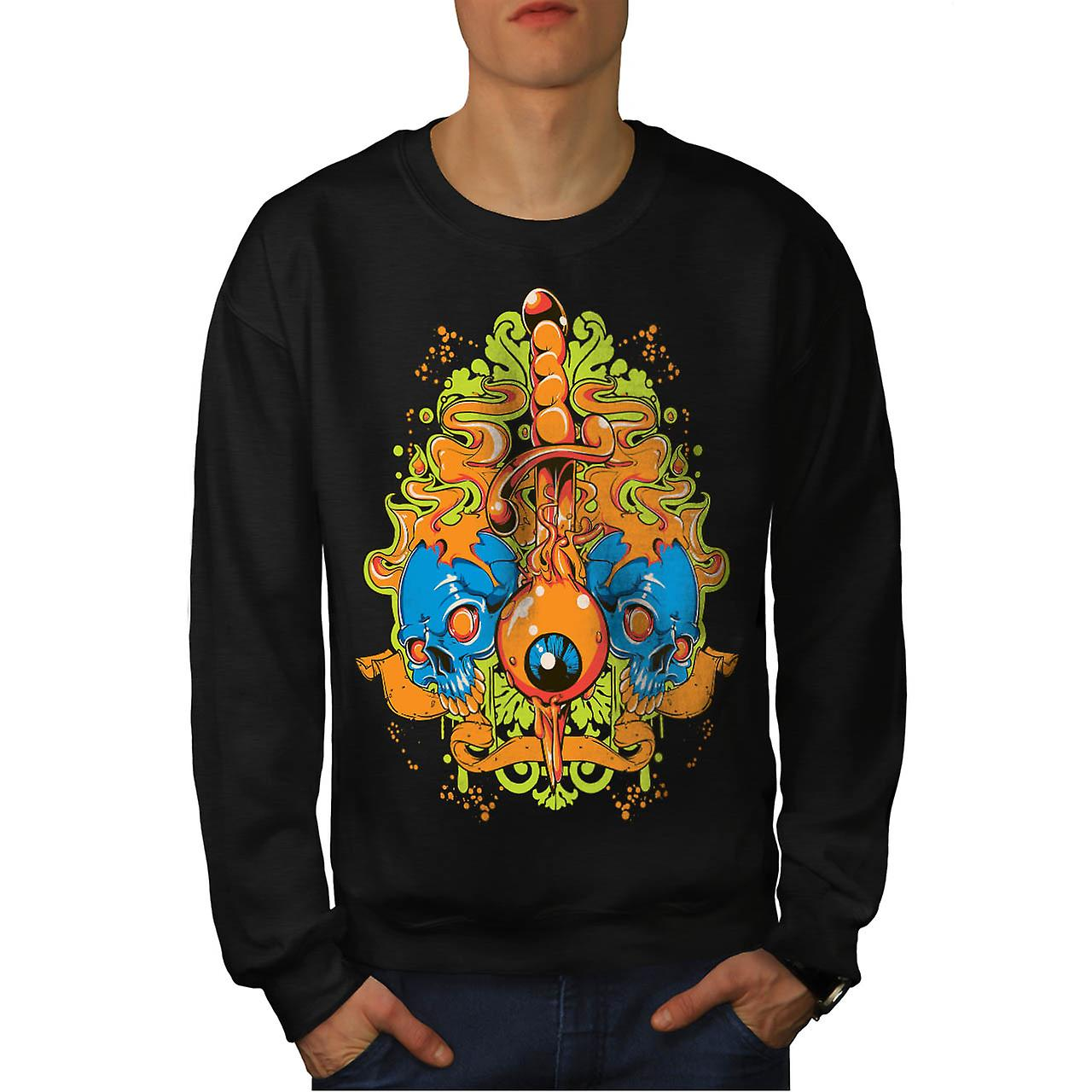 Evil Eye Knife Sword Skull Smile Men Black Sweatshirt | Wellcoda