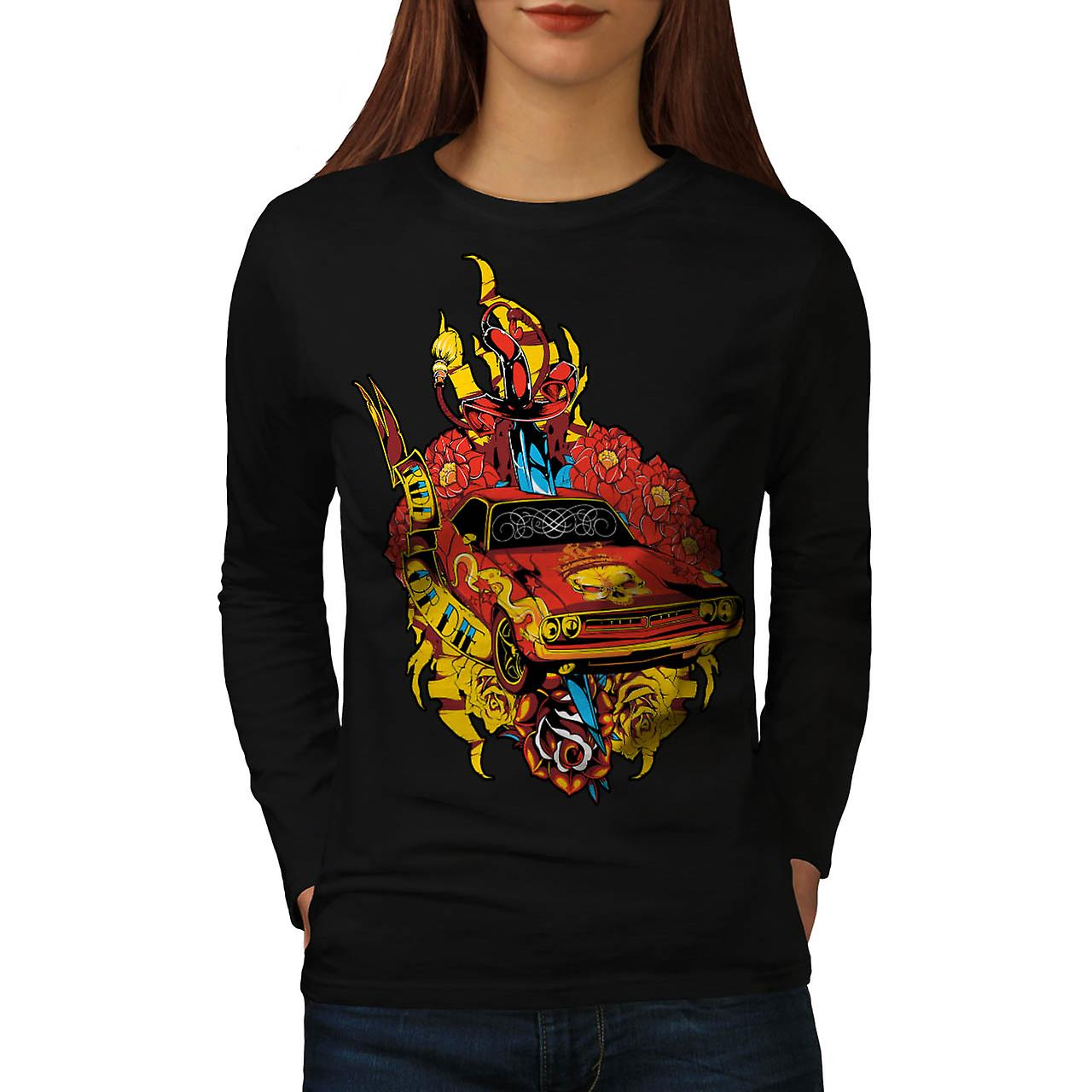 Die pride Auto Mobile Hell Ride Women Black Long Sleeve T-shirt | Wellcoda