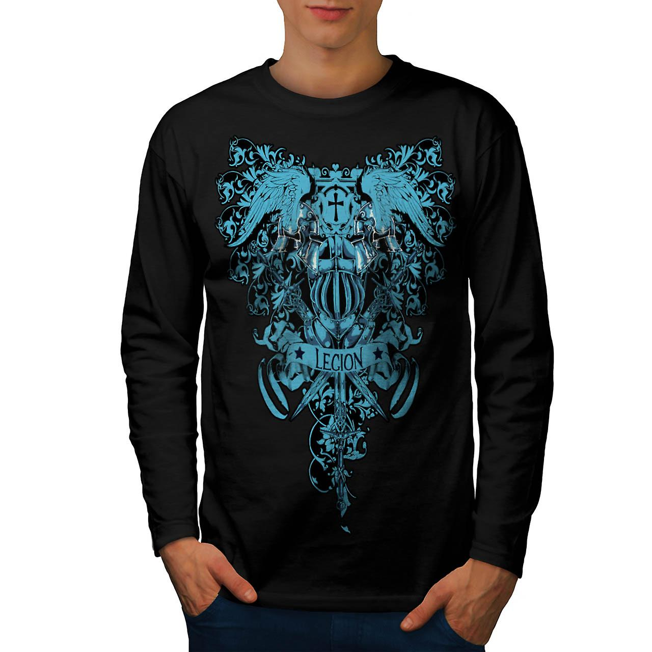 Kingdom Legion Cross Dead Symbol Men Black Long Sleeve T-shirt | Wellcoda