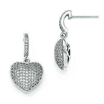 Sterling Silver and CZ Polished Heart Dangle Post Earrings