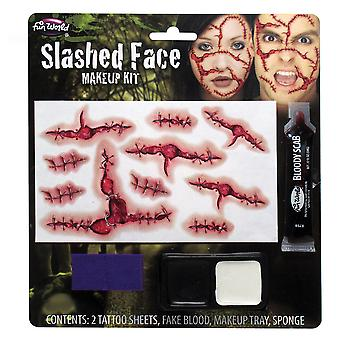 Palmer Agencies Slashed Face Make Up Kit Bloody Scab Temp Tattoo Halloween