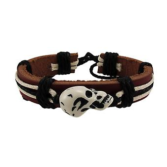 Brown Leather Carved Skull Bead Cord Bracelet