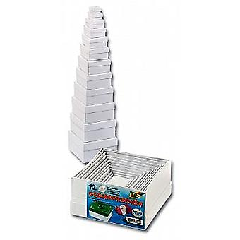 12 Square White Board Stacking Boxes Very Versatile for Crafts & Wrapping