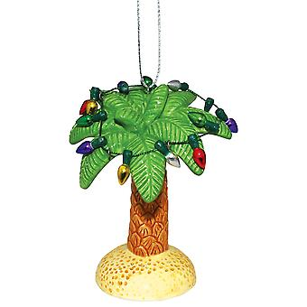 Palm Tree Trimmed in Christmas Cheer Holiday Ornament Ceramic 3.5 Inch