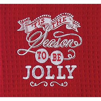 Tis the Season to Be Jolly Embroidered Waffle Weave Kitchen Dish Towel Kay Dee