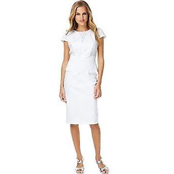 Hvit bomull rik Broderie Peplum Skift kjole DR787-14