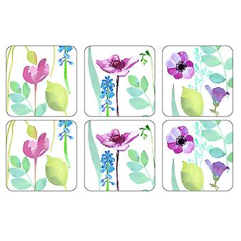 Pimpernel Water Garden Coasters, White, Set of 6