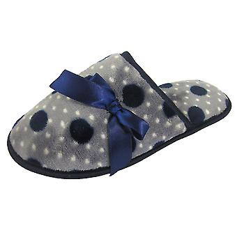 Coolers Womens Slip On Mule Slippers With Warm Spot Fleece & Ribbon Design