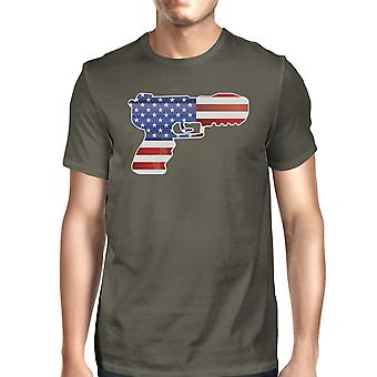 Pistol Shaped American Flag Mens Dark Gray Graphic Cotton Tee Shirt