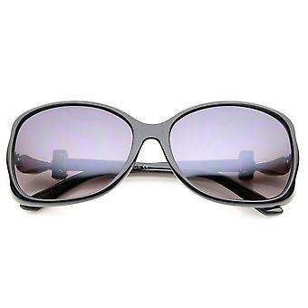 Vrouwen metalen tempel Rhinestone Accent verloop Lens Oversized zonnebril 61mm