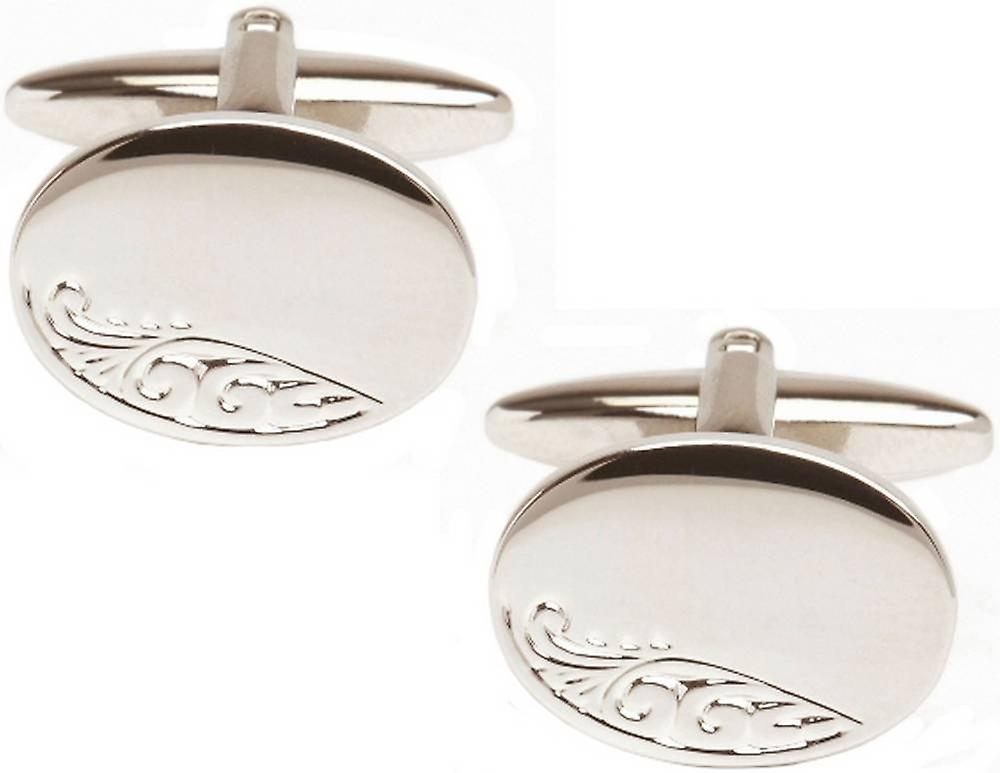 David Van Hagen Engraved Leaf Oval Cufflinks - Silver