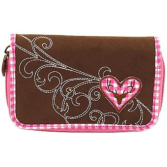 Purse Friedrich Velour women's wallet purse Brown Plaid cotton pink