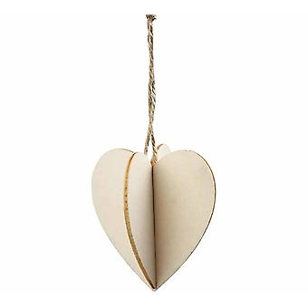 3 Interlocking Two Part Wooden Hanging Heart Decorations for Christmas