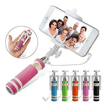 ONX3 (Pink) Universal justerbar Mini Selfie kamera Stick lomme størrelse Monopod indbygget fjernbetjeningsudløser For Lg Aristo 2