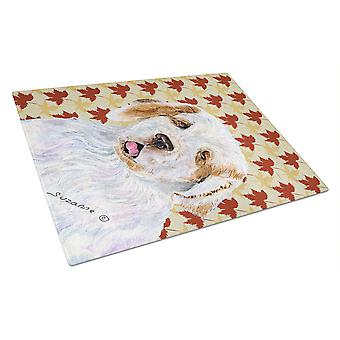Clumber Spaniel Fall Leaves Portrait Glass Cutting Board Large