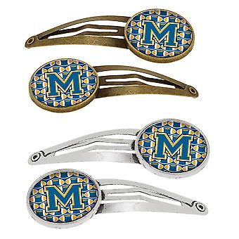 Letter M Football Blue and Gold Set of 4 Barrettes Hair Clips