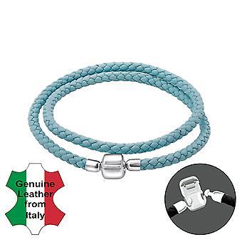 Plaine - en argent Sterling 925 + Bracelets de perles pour le cordon en cuir - W22511X