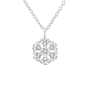 Snowflake - 925 Sterling Silver Jewelled Necklaces - W34564x