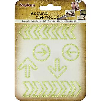 ScrapBerry's Around The World Curls Embellishments-#3 Green Pearl Arrows 25001066