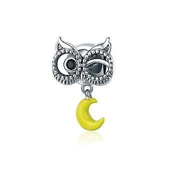 Sterling silver pendant charm Owl with moon SCC327