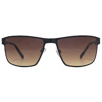 FCUK Square Metal Reverse Groove Sunglasses In Black
