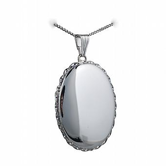 Silver 37x28mm plain twisted wire edge oval Locket with a curb Chain 18 inches