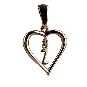 9ct Gold 18x18mm heart Pendant with a hanging Initial Z