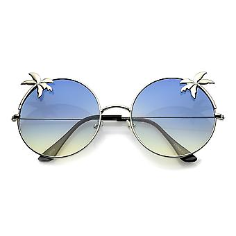 Oversize Metal Ultra Slim Temple Palm Tree Flat Gradient Lens Round Sunglasses 57mm