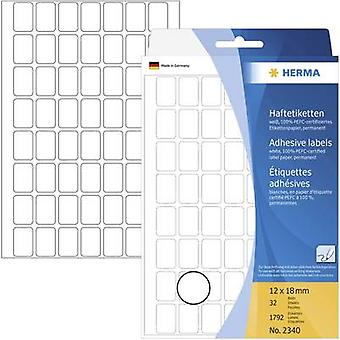 Herma 2340 Labels (hand writable) 12 x 18 mm Paper White 1792 pc(s) Permanent All-purpose labels Hand writing