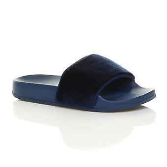 Ajvani kvinners flat pels muldyr åpen tå skjegg komfort slip på flip flop glidere tøfler sandaler