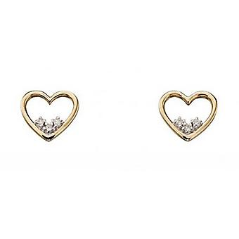 Elements Gold Diamond Dainty Open Heart Stud Earrings - Gold