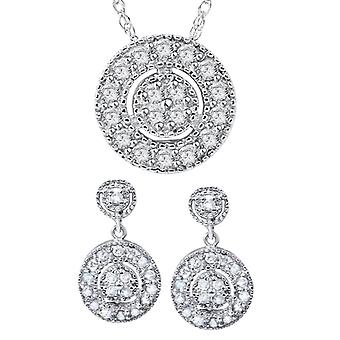 3/4ct Diamond Dangle Earrings & Matching Pendant Vintage Style 10K White Gold