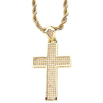 Iced out bling micro pave Kruis hanger - goud