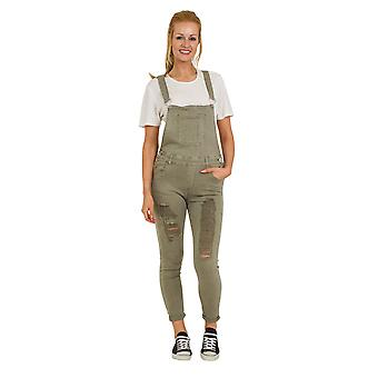 Green Distressed Denim Dungarees - Skinny Fit Ladies Bib Overalls Rips Abrasions