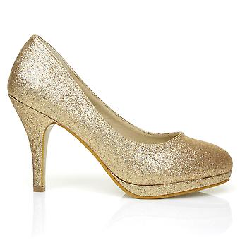CHIP Champagne Gold Glitter Pumps Mid-High Heel Low Platform Office Court Shoes
