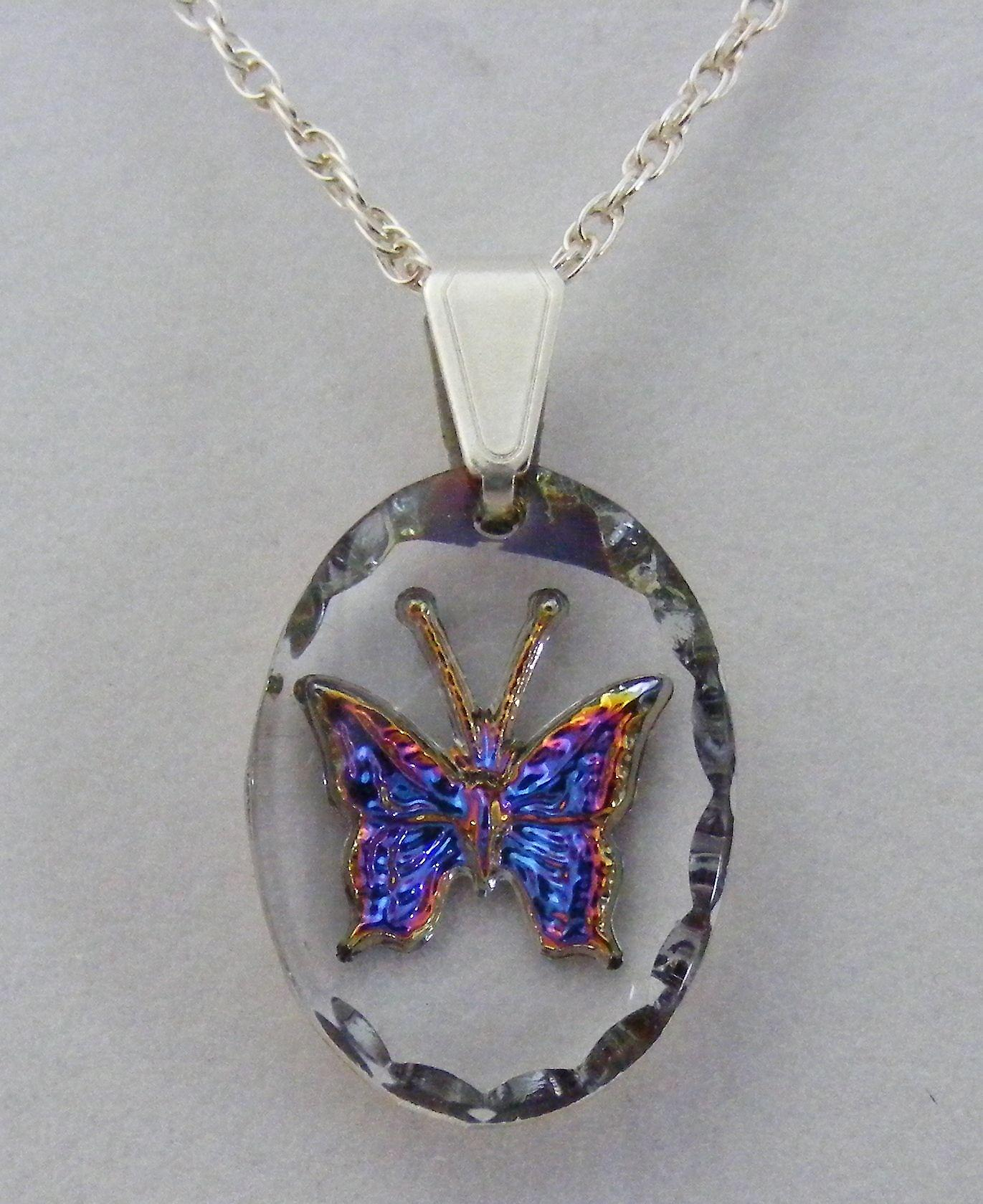 Heliotrope Oval Butterfly Crystal Pendant