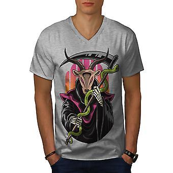 Cartoon-Horned Reaper Männer GreyV-Neck T-shirt   Wellcoda