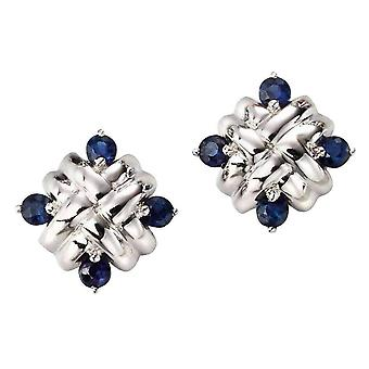 Elements Gold Sapphire Woven Stud Earrings - Blue/White Gold