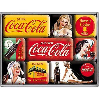 Coca Cola żółty zestaw 9 Mini Lodówka magnesy w pudełku