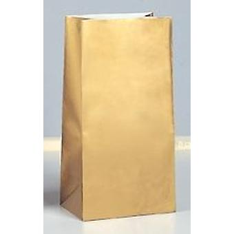 10 Gold Paper Party Bags | Kids Party Loot Bags
